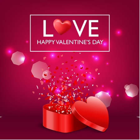 Vector illustration of Happy Valentine's day card and open heart gift on red maroon and pink background
