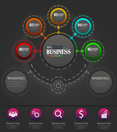 Vector illustration of Infographics Business Template concept with 5 options