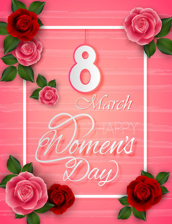 8 March Womens Day on pink background 写真素材