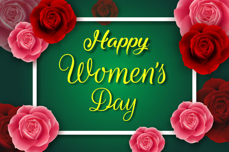 International happy womens day poster with red and pink roses