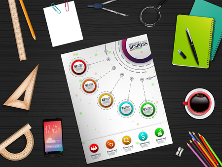 Infographics Business Template concept with 5 options and stationary Ilustração