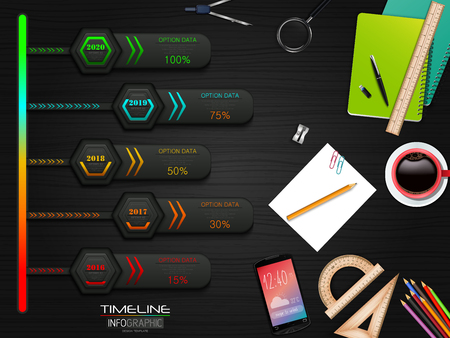 Business Infographics Presentation Slide With 5 Step Options and stationary