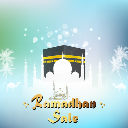 Vector illustration of Ramadan Kareem sale with Mosque and kaaba