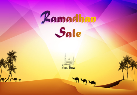 Vector illustration of Ramadan Kareem sale with camels at the desert