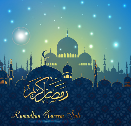 Vector illustration of Ramadan Kareem sale with Mosque Ilustração