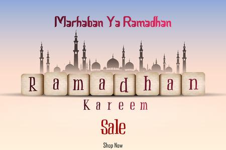 Vector illustration of Ramadan Kareem sale with line mosque and lantern