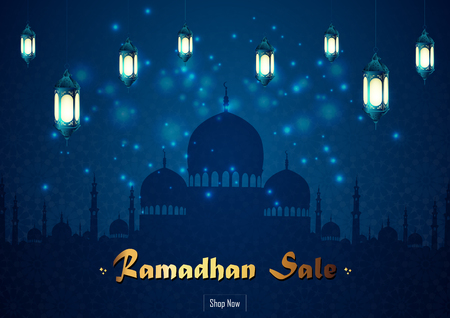 Ramadan Kareem sale with mosque and lantern Stock Photo