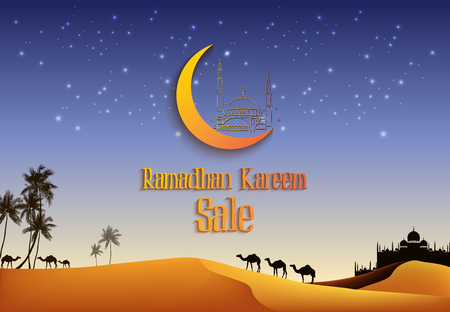 Ramadan Kareem sale with camels at the desert Imagens