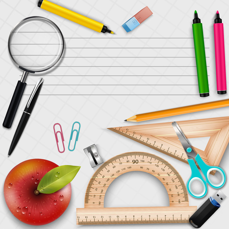 Vector illustration of Collection of school supplies design