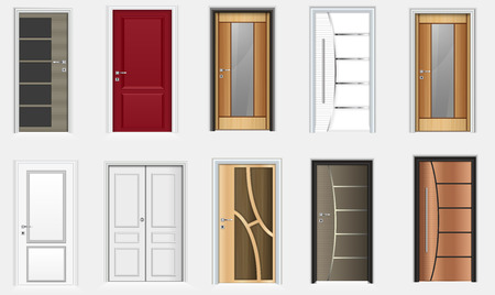 Vector illustration of Collection of colorful room doors icons Vector Illustratie