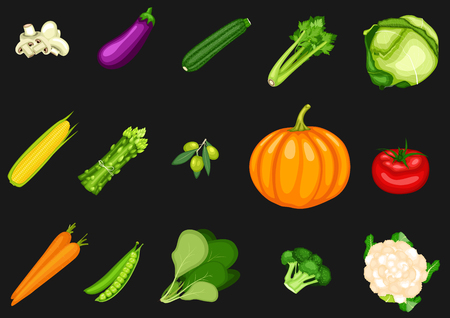 Collection of vegetables on a black background