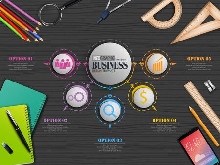 Vector illustration of Info graphics Business Template concept with stationary Archivio Fotografico - 125118262