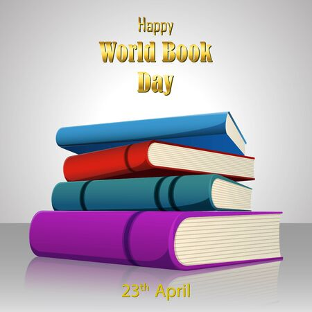 Vector illustration of Colorful book for World Book Day on white background Vectores