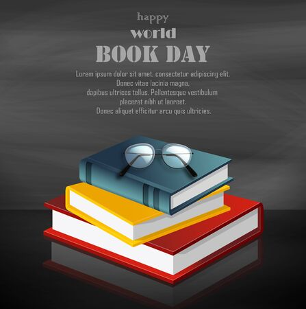 Vector illustration of a colorful book for World Book Day on grey background Archivio Fotografico - 125118288