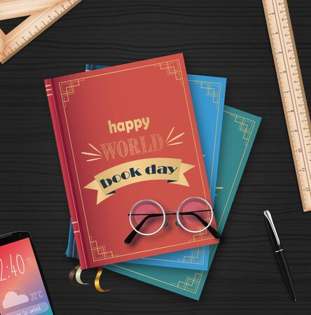 Vector illustration of World book day with stack of books Archivio Fotografico - 125216310