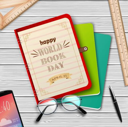 Vector illustration of World book day with stack of books Archivio Fotografico - 125216332