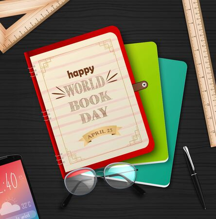 Vector illustration of World book day with stack of books Archivio Fotografico - 125216385