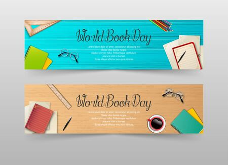 Vector illustration of World book day banners template Archivio Fotografico - 125216386