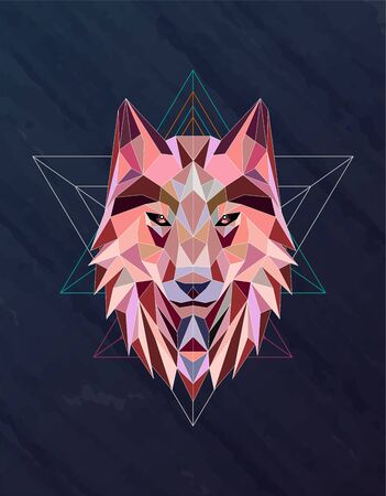 Colorful abstract polygonal wolf head Archivio Fotografico - 125797189