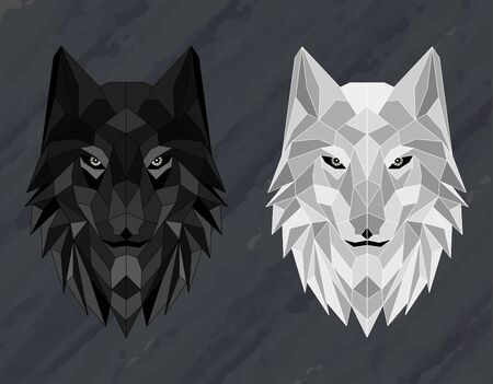 Set of Abstract polygonal wolf head Archivio Fotografico - 125797191