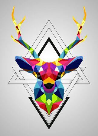 Vector illustration of Colorful deer low poly design Ilustración de vector