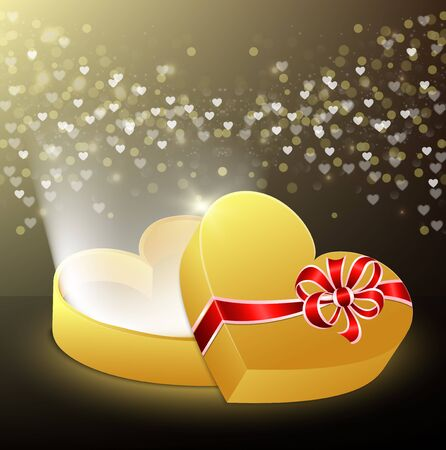 Vector illustration of Opened gift box in the shape of a heart with flying hearts