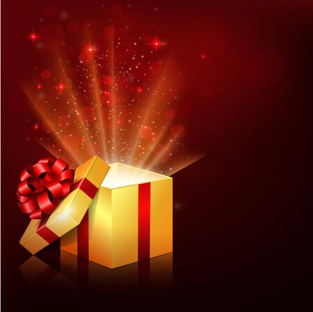 Vector illustration of Golden gift boxes with red bow and ribbon