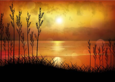 A Tropical Sunset or Sunrise with Palm Trees Ilustracja