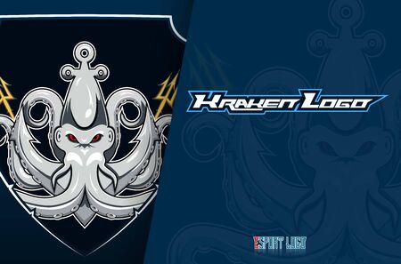 Kraken esport mascot badge design illustration