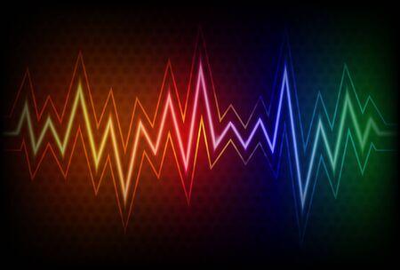 Abstract background with colorful waveform Ilustração