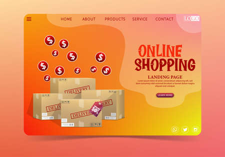 Online shopping delivery concept with cardboard 版權商用圖片 - 156786955