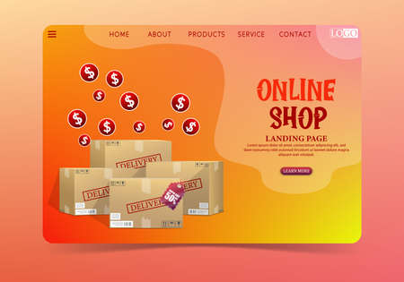 Online shopping delivery concept with cardboard