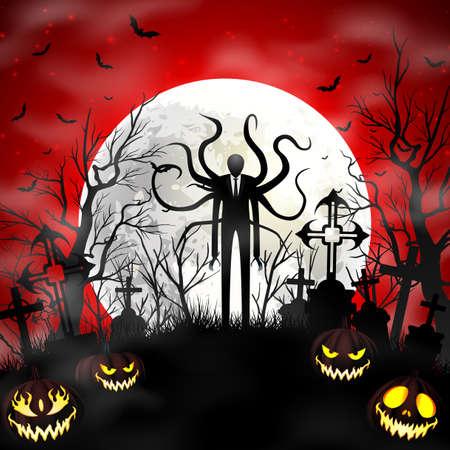 Halloween background with zombie and pumpkins Ilustración de vector
