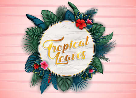 Branches and leaves of tropical plants. Round floral frame