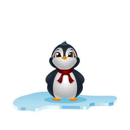 Cute penguins on ice floe