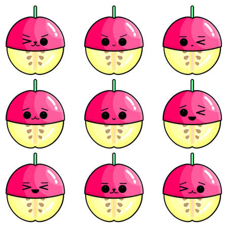 Set of cute apples vector illustration. Set of cute illustration of half-peeled fruit.