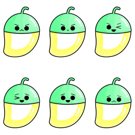 Set of cute mangoes vector illustration. Set of cute illustration of half-peeled fruit. Illusztráció