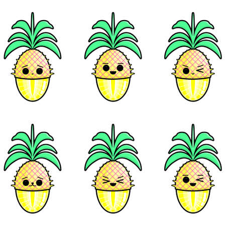 Set of cute pineapples vector illustration. Set of cute illustration of half-peeled fruit.