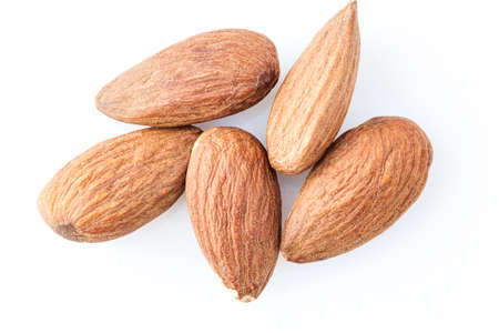 Walnut almonds on white background close-up Stock Photo