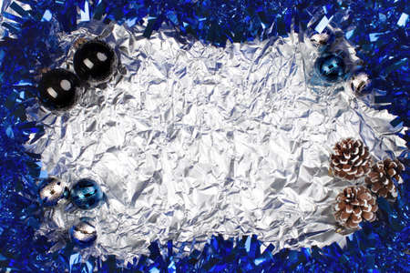 blue and silvery christmas balls on a silvery background Stock fotó