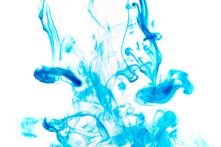 Color paint drops in water. Ink swirling underwater. Cloud of silky ink collision on white background. Colorful abstract smoke explosion animation. Close up camera view.