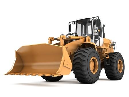 Orange hydraulic loader isolated on white background photo