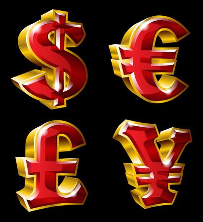 主な通貨記号。  イラスト・ベクター素材