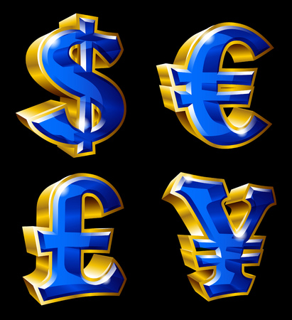 Set of gold currency symbols in format.