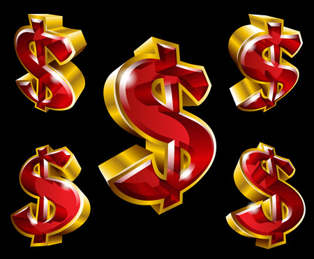 Vector dollar symbols in 3D style with different agles