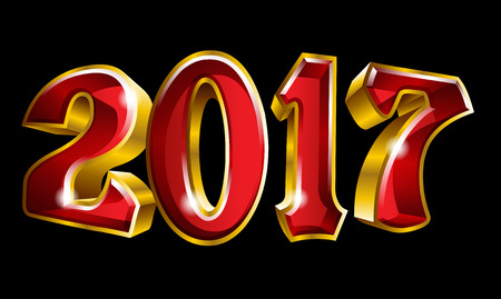 Happy New Year 2017 3D like vector gold text design with black background Illustration