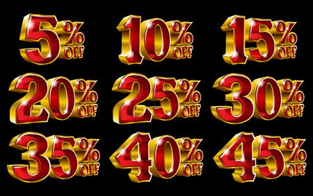 Percent off discount golden 3D illustrations on black background