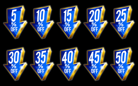 Percent discount off sale gold 3D arrows isolated on black background Vectores
