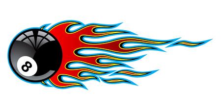 Flamme de voiture de muscle hotrod tribal classique avec 8 ball isolé sur fond blanc Illustration