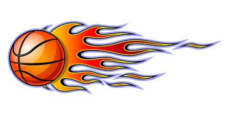 Vector classic tribal flame with basketball isolated on white background